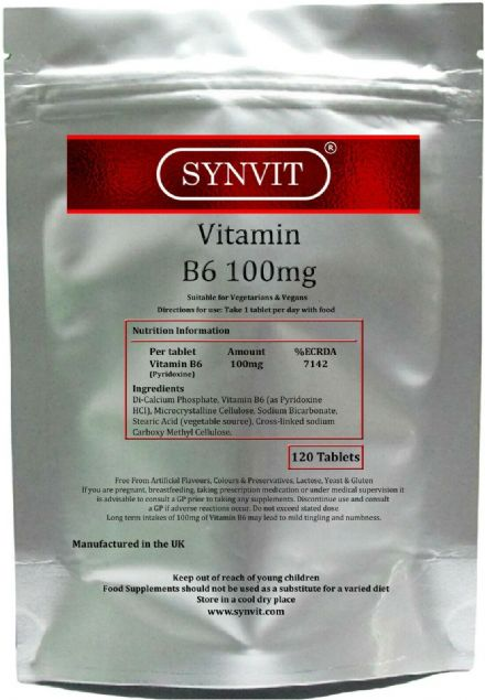 Vitamin B6 100mg x 120/360 Tablets; High Strength; Synvit